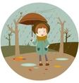 a girl under an umbrella vector image