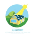 Eco house with blue solar panels on the roof vector image