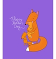 Family of cute cartoon fox Funny animals Happy vector image