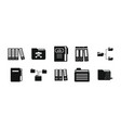 folder icon set simple style vector image
