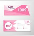 Pink gift voucher template layout design set vector image