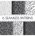 Set of seamless hand drawn background vector image