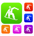 snowboarder set collection vector image