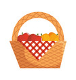Picnic basket with food vector image