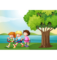 Three kids playing with the rope near the river vector image vector image