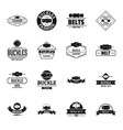 belt buckle logo icons set simple style vector image