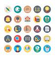 education flat circular icons 1 vector image