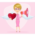 Female messenger angel with beautiful wings gives vector image