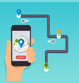 hand holding mobile smart phone app with track vector image