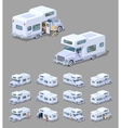 Low poly white motor home vector image