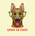 shepherd dog in smart glasses shepherd geek vector image