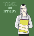 time to study background vector image