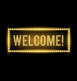 welcome neon light title realistic vector image