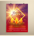 happy diwali flyer template with glowing star and vector image