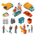 isometric garbage recycling icon set vector image