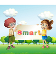 Smiling kids holding a signboard vector image vector image