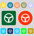 Steering wheel icon sign 12 colored buttons Flat vector image