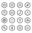 black line web icon set hexagon vector image