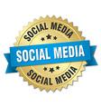 social media 3d gold badge with blue ribbon vector image