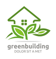 green building leaves house symbol vector image