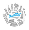 hand drawn cosmetic elements collection vector image