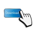 Mouse hand cursor on download button vector image