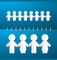 Paper People Holding Hands on Blue Notebook vector image