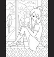 the beautiful girl sitting on a windowsill and vector image