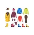 Winter Clothing Woman Set vector image