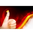 Thumb up red background vector image vector image