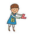 Close-up of boy holding letter vector image vector image