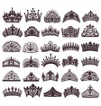 set of silhouettes of ancient crowns tiaras tiara vector image