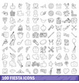 100 fiesta icons set outline style vector image