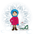 girl with sledge vector image