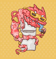 cartoon monster with a fridge vector image