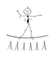 cartoon of business man walking on tightrope rope vector image