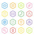 colorful line web icon set hexagon vector image