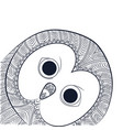 doodle owl head night bird tangle pattern vector image