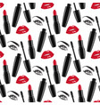 Seamless pattern red lips and lipsticks mascara vector image