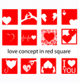 set of heart in red square vector image