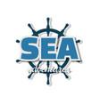 sea adventures icon steering wheel ship vector image