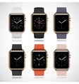 Set of 6 edition modern shiny golden smart watches vector image