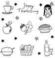 Thanksgiving flat hand draw in doodle vector image
