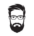 bearded mans face hipster character fashion vector image