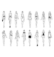 Fashion models shows everyday outfits sketch icons vector image