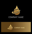 water drop oil gold logo vector image