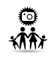 silhouette family vacation photo camera vector image