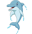 Cartoon dolphin jumping vector image vector image