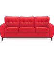 Red Leather Sofa Realistic vector image