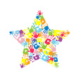 Star made of the handprints vector image